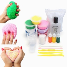 DIY Slime Kit Snow Mud Clay Playdough DIY safe Plasticine Styrofoam Beads Balls White Floam Clay