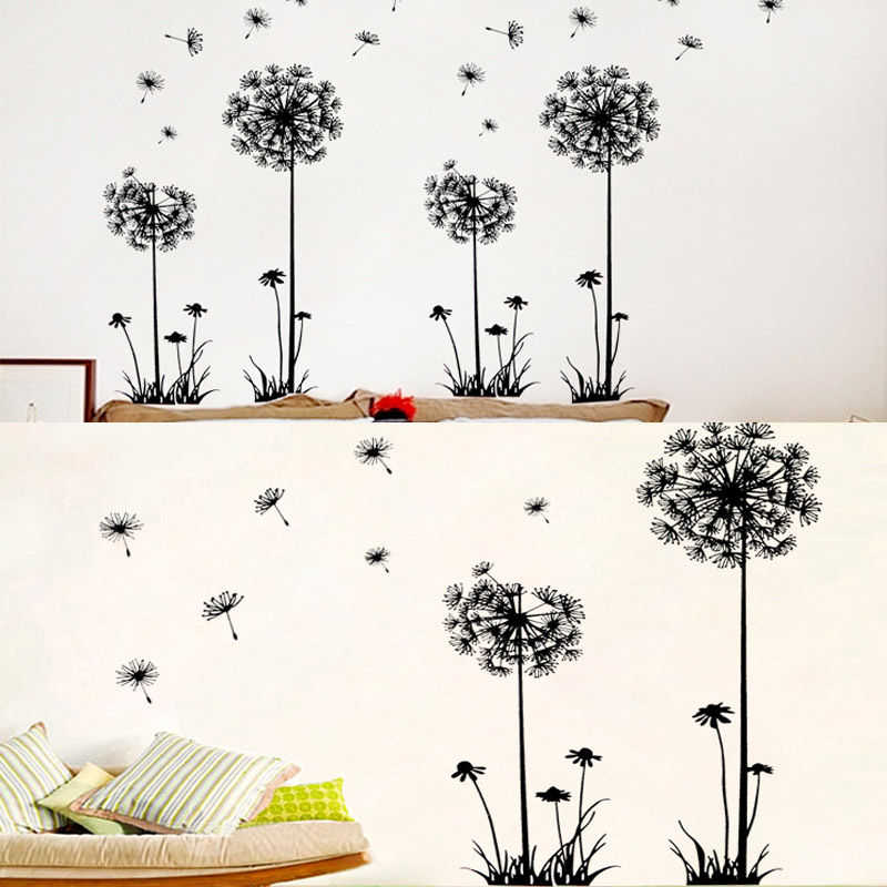 1pc new arrival creative dandelion removable wall stickers for Dandelion mural