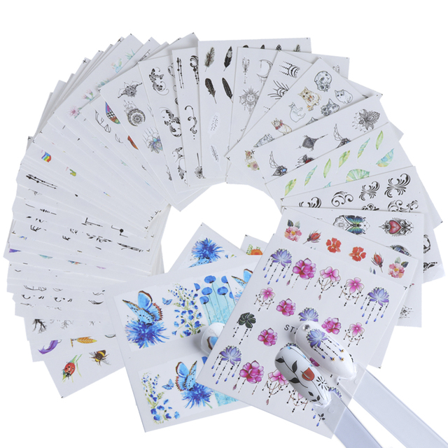 1pcs Slider Nail Sticker Gradient Lotus Decals Purple Flower Vine Designs For Nail Art Watermark Tattoo Decorations TRSTZ633-608 5