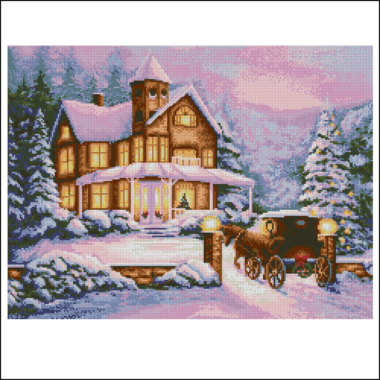 Free Delivery Top Quality Popular Counted Cross Stitch Kit Christmas Eve Snow Carriage Coming Home