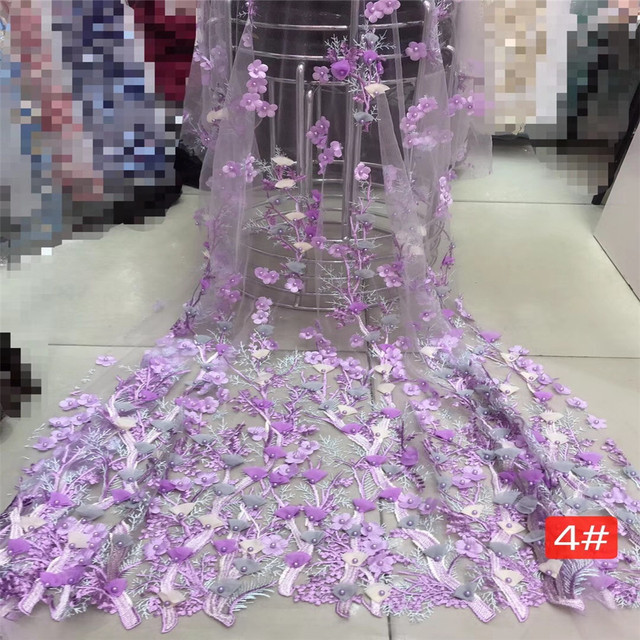 African Lace Fabric 2018 High Quality Lace 3D Flower Lace Fabric Beautiful Applique Stones Lace For Nigerian Wedding HJ399-2