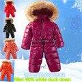 Nuevo 2016 otoño mameluco del invierno ropa de bebé recién nacido chaqueta abajo mameluco del bebé caliente de espesor mono escudo baby girl overoles