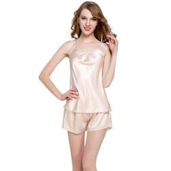 Для женщин однотонный Атлас пижамный комплект Мода шелковистый Pijama Лето Ночное эротическое нижнее белье домашние пижамы милый Cami футболка