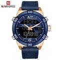 NAVIFORCE Top Luxus Marke Männer Military Sport Uhren herren Wasserdichte Quarz Armbanduhr Männlichen Leder Led Digital Uhr 9128