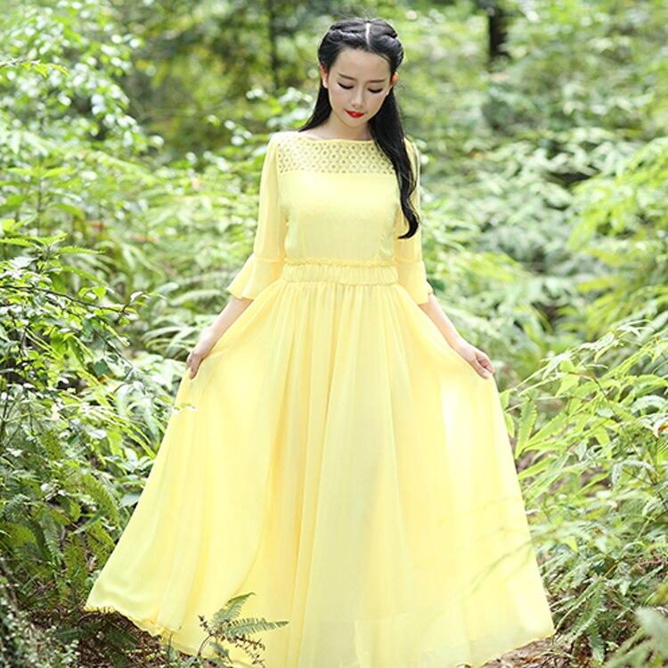 6751c4f979d S-XL 2015 New women summer chiffon one-piece dress long design expansion  bottom yellow gentlewomen party dresses 8110