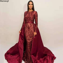 2019 Silver Glitter Sequins Mermaid Evening Dress Arabic Dresses Detachable Train  Evening Gown Muslim Evening Dress 6de218cdb84c