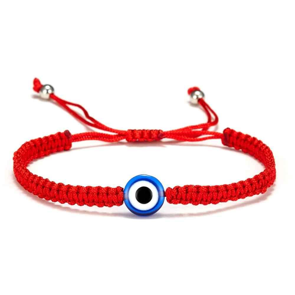 Turecki Evil Eye ręcznie pleciony czerwony wątek String bransoletka kobiety mężczyźni urok szczęście czerwona linka regulowana bransoletka biżuteria prezenty