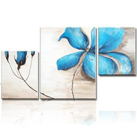 Modern Handmade Floral Paintings 3 Panel Pictures Wall Art Handpainted Abstract Blue Flower Oil Painting On
