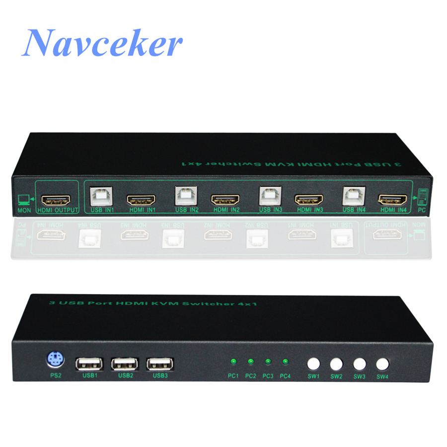 2018 New 2 Port KVM Switch HDMI 4 Port HDMI KVM Switch USB 4K KVM Switch PS/2 Support Hotkey KVM Switch HDMI USB 2.0 2 / 4 Port