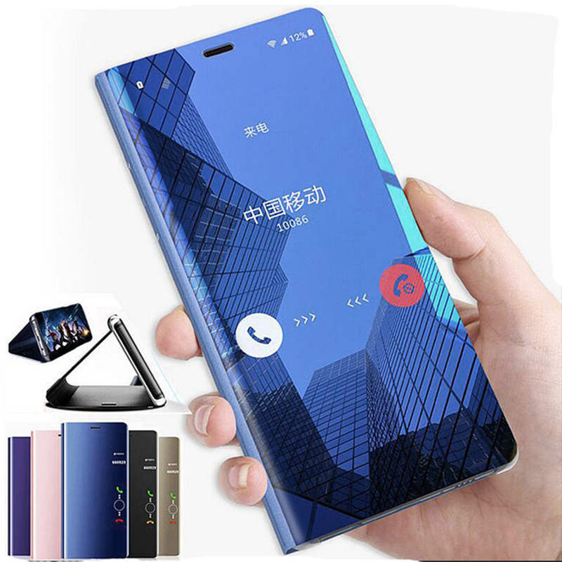 For Huawei Mate 20 Pro Clear View Smart Mirror Flip Leather Stand Case Cover For