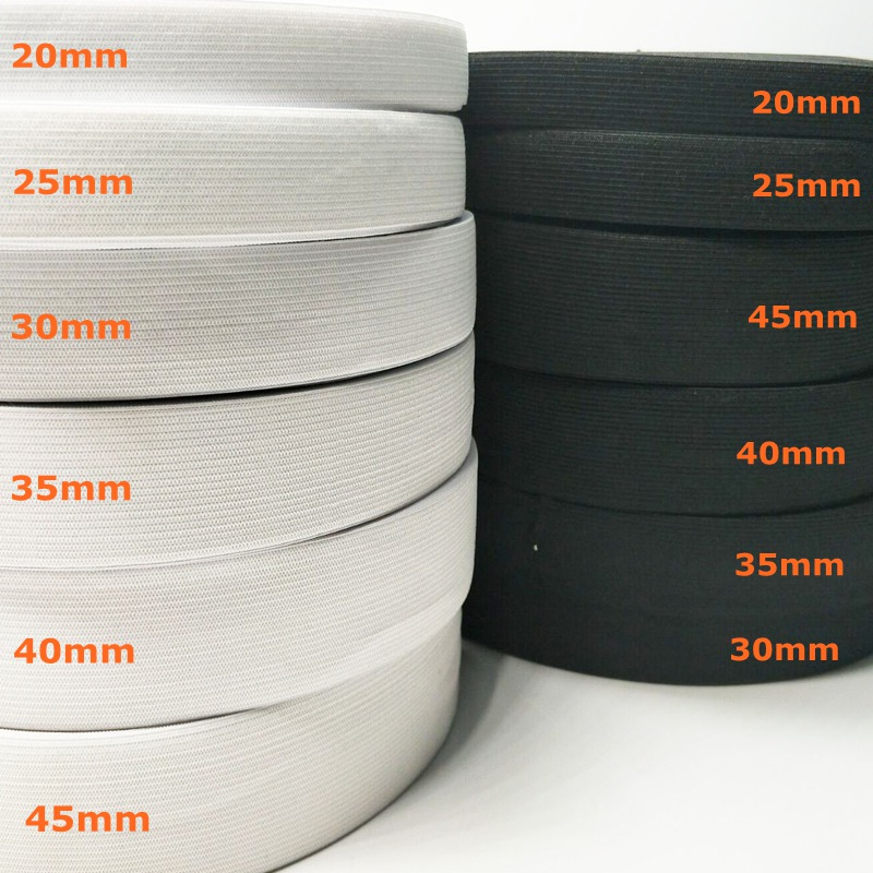 HL 5 meters 3/6/10/12/15/25/30/35/40/45MM White/black Nylon Highest Elastic Bands Garment Trousers Sewing Accessories DIY image