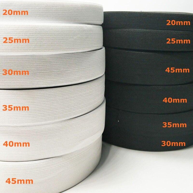 HL 5 metrów 3/6/10/12/15/25/30/35/40/45/50/60MM biały/czarny Nylon najwyższe opaski elastyczne spodnie krawieckie akcesoria do szycia DIY