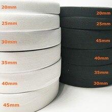 HL 5 metros 3/6/10/12/15/25/30/35/40 /45MM blanco/Negro Nylon bandas elásticas más altas ropa pantalones accesorios de costura DIY