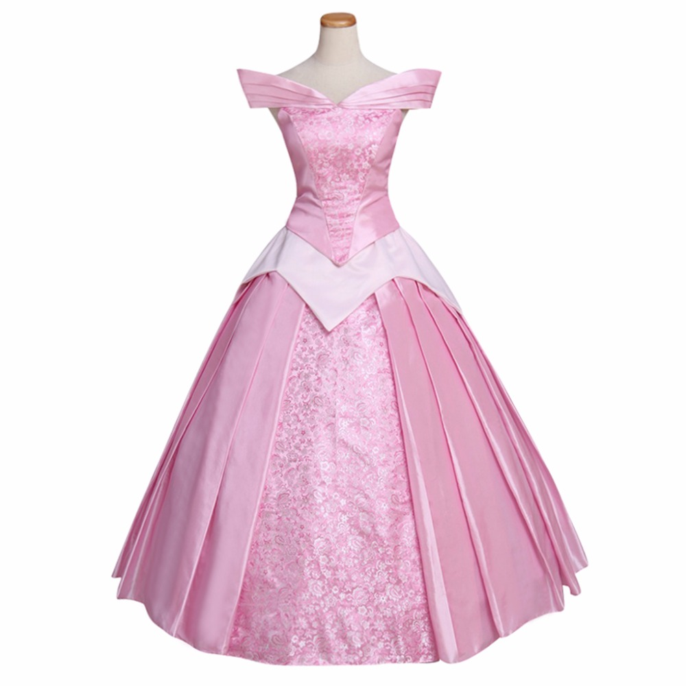 Adult's Pink Dress Sleeping Beauty Princess Aurora Custom Made Dress Cosplay for Halloween Carnival Party
