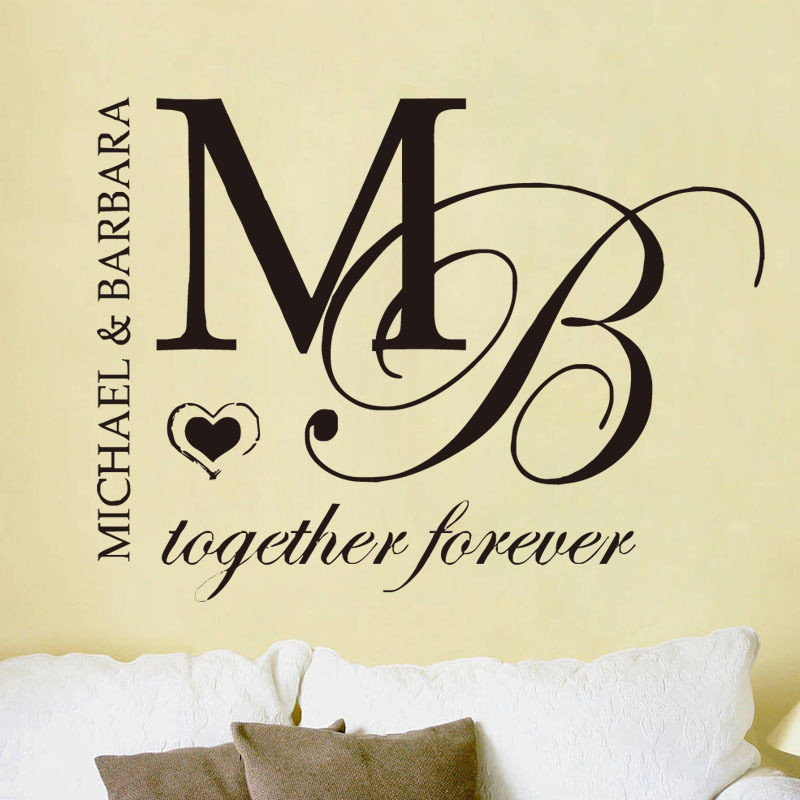 J29 personalised name initial letter wall vinyl sticker decal for couple bedroom decorative art wall stickers in wall stickers from home garden on