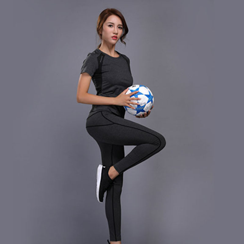 Women Yoga Set Gym Fitness Clothes Top Shirt High Waist Yoga Pants Running Sportswear Girl Slim Leggings Yoga Workout Sport Suit