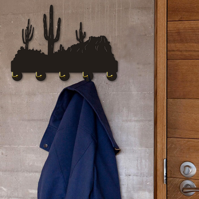 1piece Cliffs Cactus Desert Plant Multi Purpose Wall Hooks Clothes Robe Towel Coat Rack