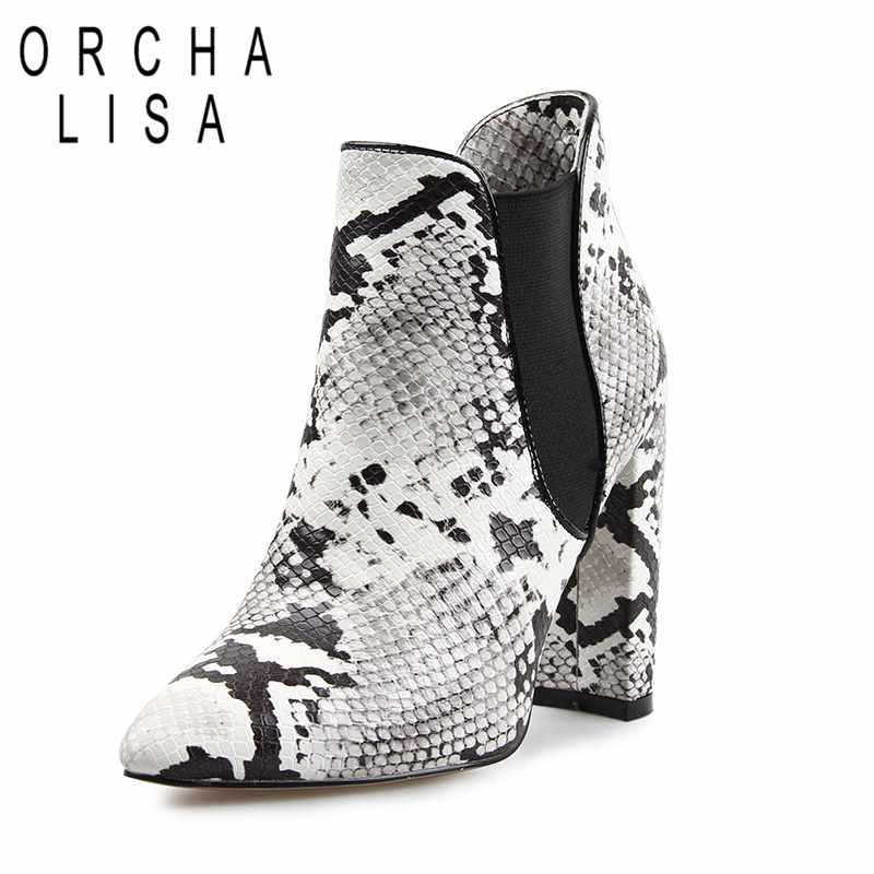 Bout Pointu Chunky Lisa Chaussures Snake Serpent Orcha Talons Carré Femmes Bottes Imprimer Haute Bottines Talon Dames Chelsea Print Automne b6Yfgy7