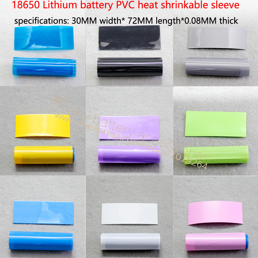 100pcs/lot 18650 Lithium Battery Insulation PVC Thermal Shrinkage Skin Membrane Battery Casing Pipe Heat Shrinkage 30 Mm * 72 Mm