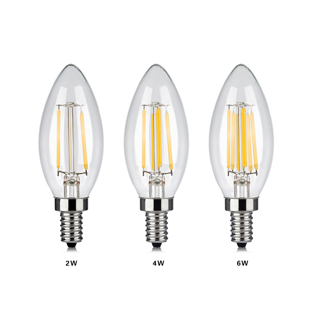 10pcs led filament candle bulb 2w 4w 6w replacement 110v 220v high lumens retro led