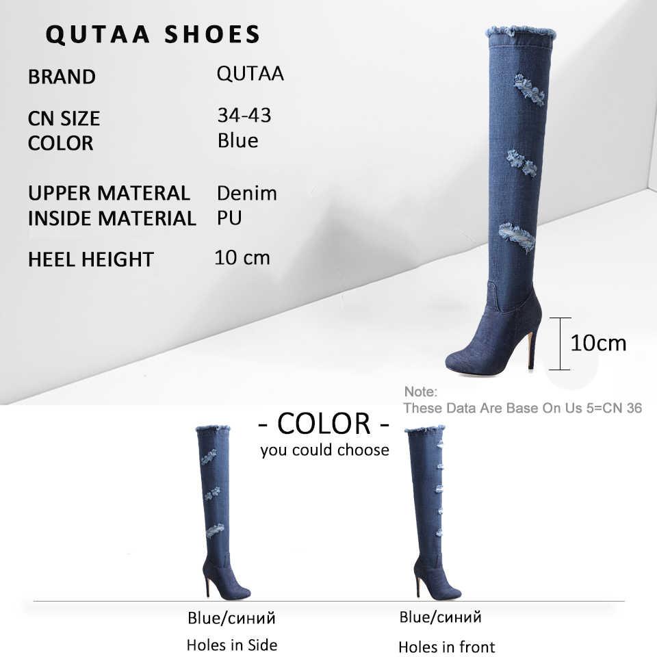 QUTAA 2020 Denim Delik Ince Diz Üzerinde Çizmeler Yuvarlak Toe Stilettos Yan Fermuar Batı Tarzı Sonbahar Uzun Çizmeler Büyük boyutu 34-43