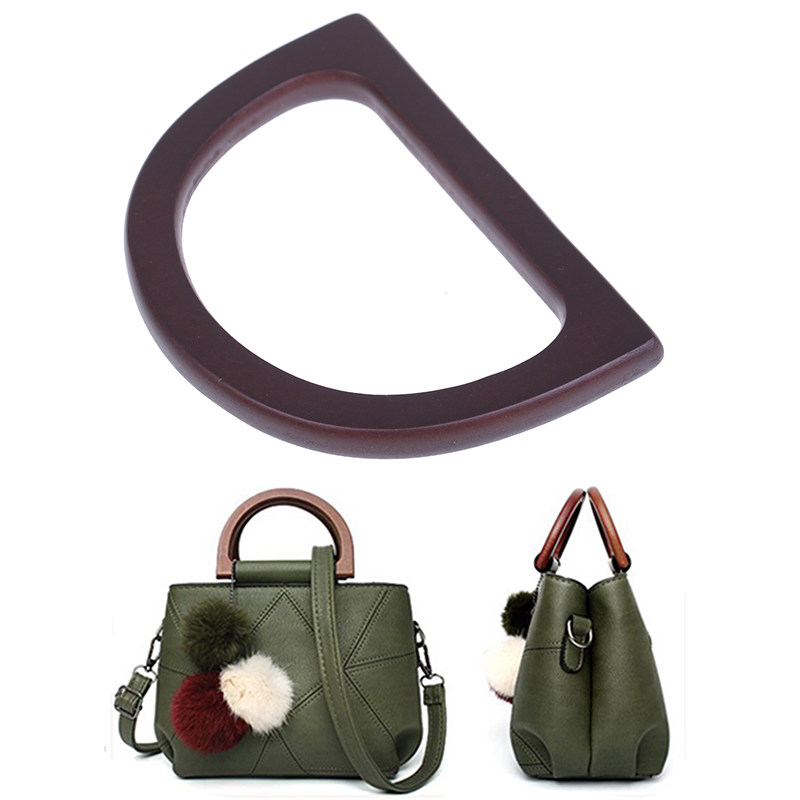 1pc Fashion Style Wooden Handle Replacement DIY Handbag Purse Frame Bag Accessories