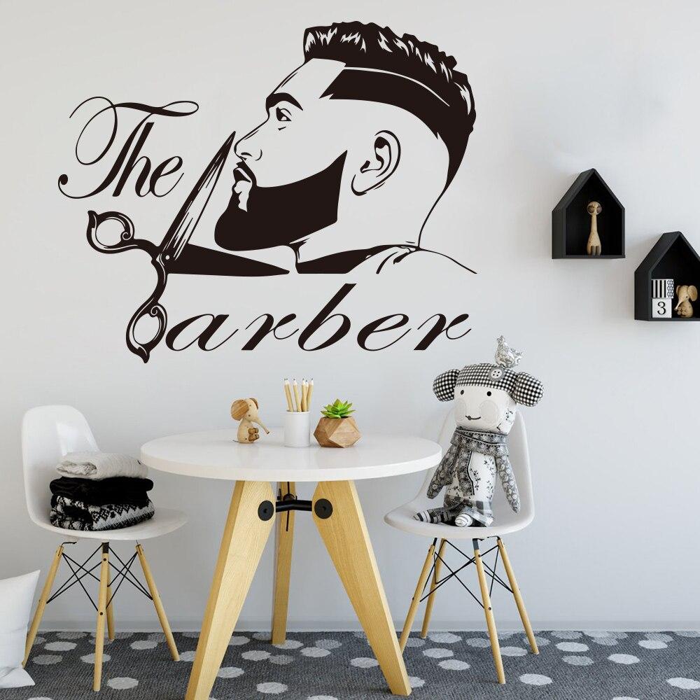 Barber Shop Men Beard Hairstyle Salon Wall Window Decal Grooming Fashion Hairdresser Hair Cut Barber Shop Wall Sticker Vinyl 1