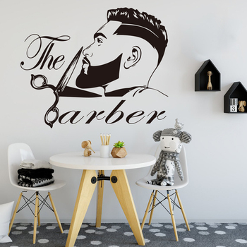 Barber Shop Men Beard Hairstyle Salon Wall Window Decal Grooming Fashion Hairdresser Hair Cut Barber Shop Wall Sticker Vinyl 1