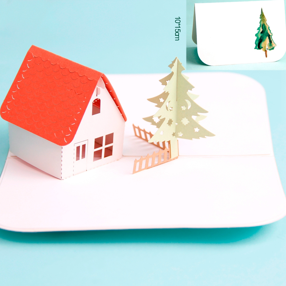 d pop up the twilight house laser cut feliz navidad feliz cumpleaos tarjetas de felicitacin hechas