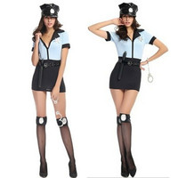 Woman Halloween Policewoman Costume Police Cosply show Adult Female Sexy Uniform Role play Carnival Masquerade Rave party dress
