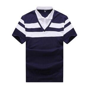 Image 4 - 10XL 8XL 6XL 2018 Moda Marka Çizgili Erkek POLO GÖMLEK Kısa Kollu POLO GÖMLEK Mens Yaz Gömlek rahat üst Shirt Erkek Giyim