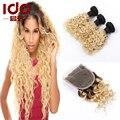 Ломбер наращивание волос бразильских утка 3 шт. и закрытия шнурка с пучками 2 тон 1B # 613 ломбер глубоко вьющиеся волосы