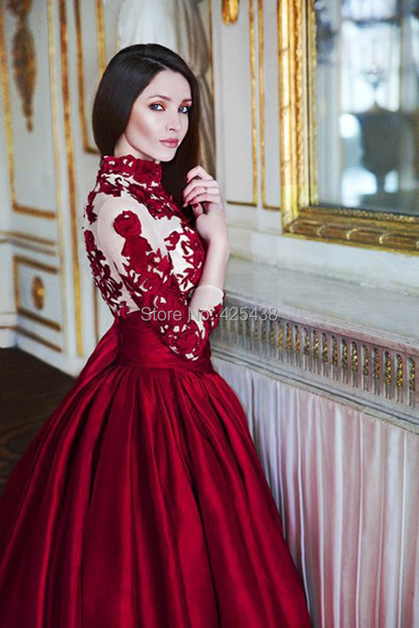 Red wedding dresses with long sleeves wedding dresses for Where to buy red wedding dress