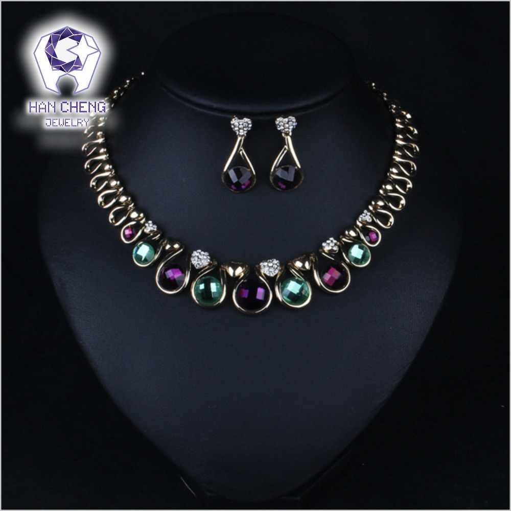 HanCheng Fashion Luxury Rhinestone Cutting Created Crystal Statement Maxi Choker Necklace Women Jewelry Alloy collier femme