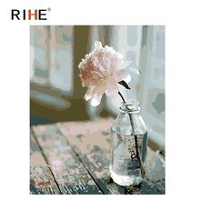RIHE Elegant Flower Diy Painting By Numbers Table Vase Oil On Canvas Hand Painted Cuadros Decoracion Acrylic Paint Art