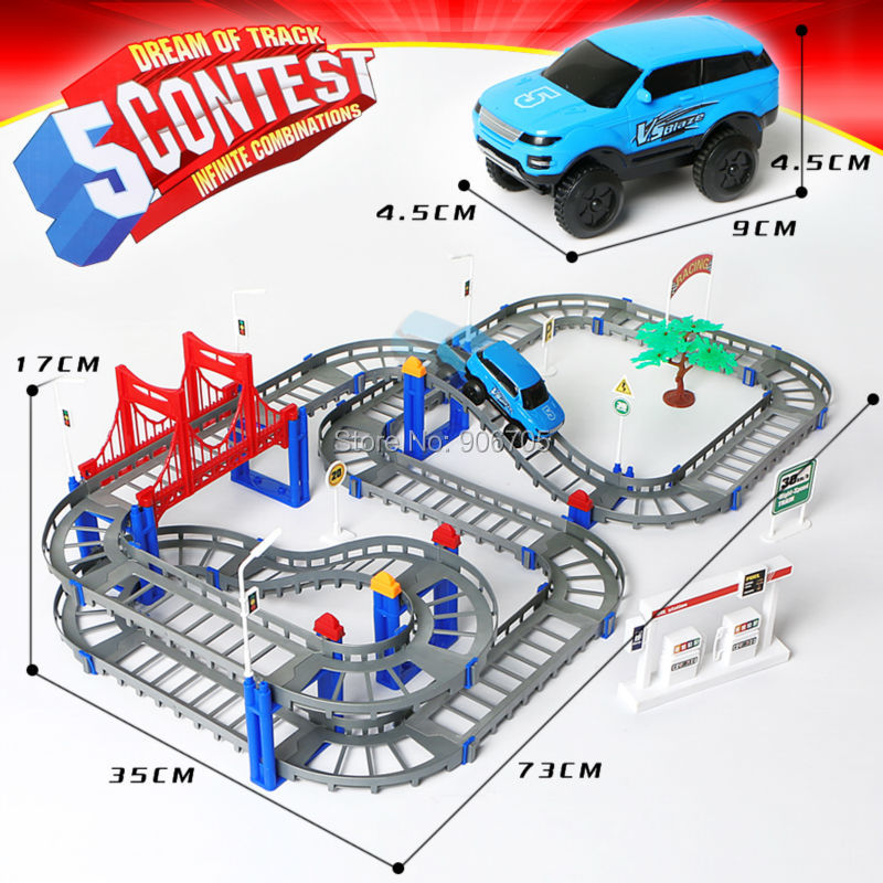 Spår Roller Elektrisk 3D barn leksaker festliga gåvor Två lager Spiral Spår Rollerbanor Toy Elektrisk Rail Car Educational leksaker