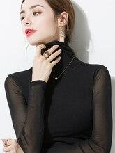 New 2019 Sexy Mesh Top Long Sleeve Women Black Net Punk Shirt Double layer Turtleneck Transparent Tops Club Party Sheer Tee lady цены