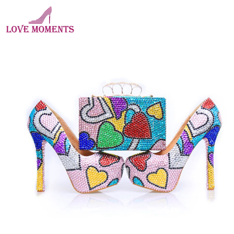 2018 Beautiful Prom Party Shoes with Bag Handmade Wedding Shoes Stiletto Heel Mix Color Cinderella Pumps with Matching Clutch 2018 new designer ab crystal wedding shoes with matching bag beautiful bridal dress shoes prom party high heels with clutch
