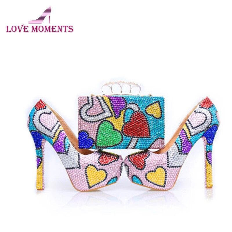 2018 Belle Prom Party Chaussures avec Sac À La Main Chaussures De Mariage Stiletto Talon de Mélange Couleur Cendrillon Escarpins assortis D'embrayage