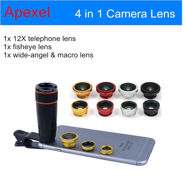 20pcs/lot Universal 12XTelephoto Lens+ Wide Angle & Macro+ Fisheye Fish eye Camera Phone Lens Kit  for iPhone Samsung HTC