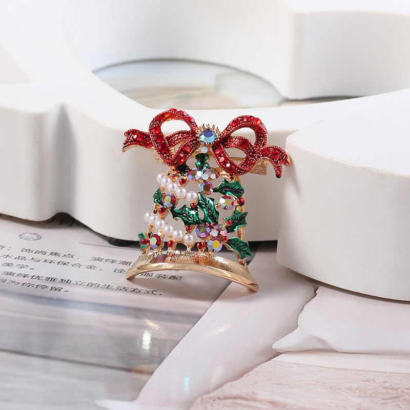 Di modo 1 pz Di Natale amore campana, spilla classico accessori di fascino di alta qualità con semplice spilla di strass tutti i match festival10