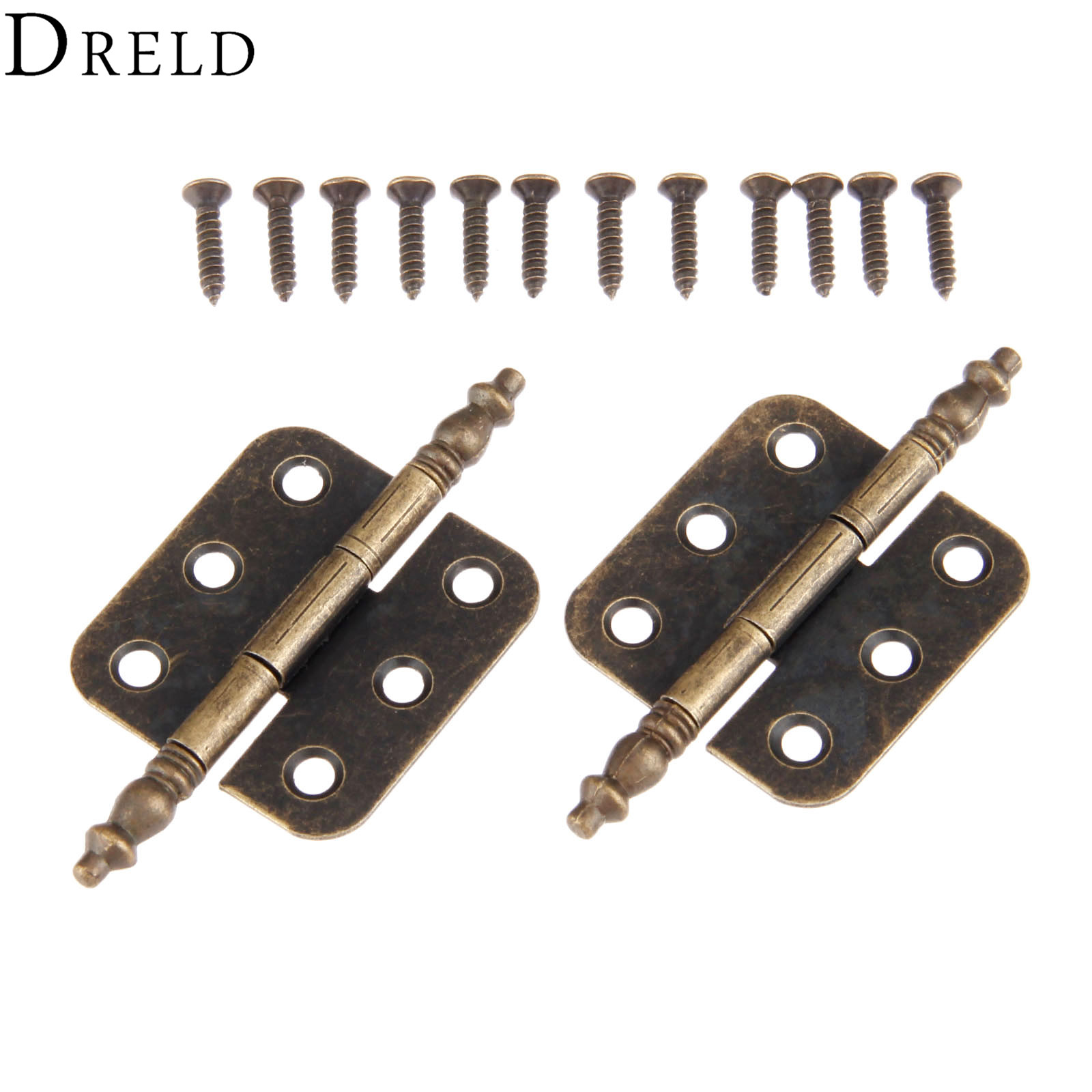 DRELD 2Pcs 70*35mm Antique Door Cabinet Hinges 6 Holes Jewelry Gift Box Drawer Cupboard Decorative Hinge For Furniture Hardware