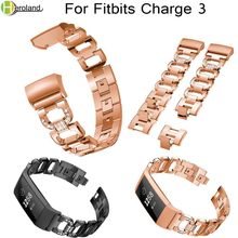 Купить с кэшбэком Luxury Crystal Metal Alloy Watch Band Wrist Strap For Fitbit charge 3 Smart Watchbands Bracelet Replacement Bling high Quality