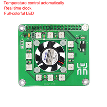 On sale Raspberry Pi 3 Fan Smart Temperature Control Fan Programmable Full LED Module DS1302 Real Time Clock Hat Board 3 Function in 1