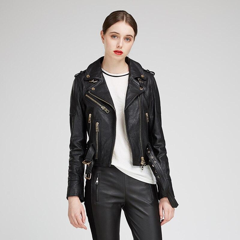 YUKOU Woman Coat Fashion Sheepskin Leather Female Jackets Motorcycle Leather Clothing Real Sheepskin Leather Short 3 Colors in Leather Jackets from Women 39 s Clothing