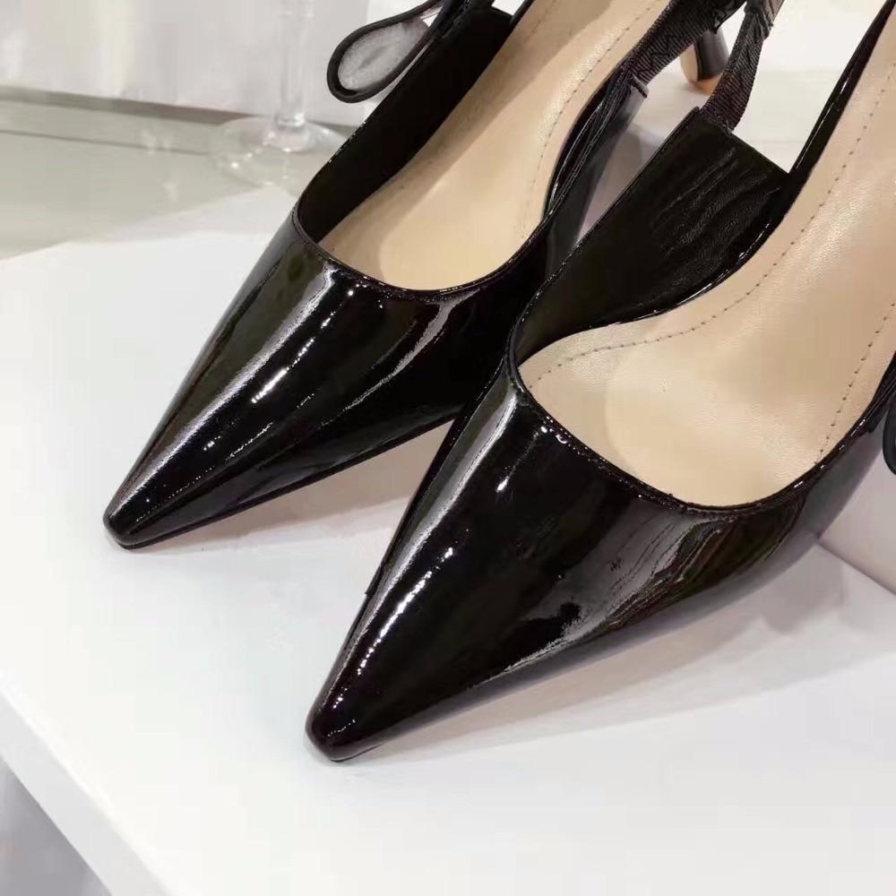 2aa9a65bb Sandália de couro genuíno das mulheres gravata borboleta doce slip on  bombas marca designer bico fino senhoras elegantes da noite alta sapatas  dos saltos em ...