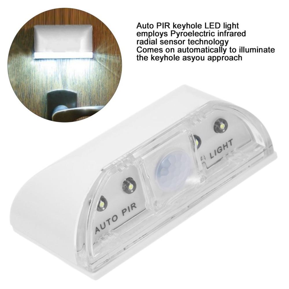 1 db 4 LED-es PIR infravörös érzékelő mozgásérzékelő otthoni ajtó kulcslyuk lámpa vadonatúj