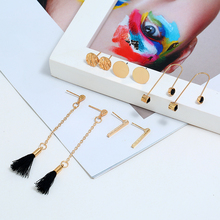 L&H 5Pairs/Set New Arrival Earrings Set Long Chain Tassel For Women Black Crystal Earings Simple Round Stud