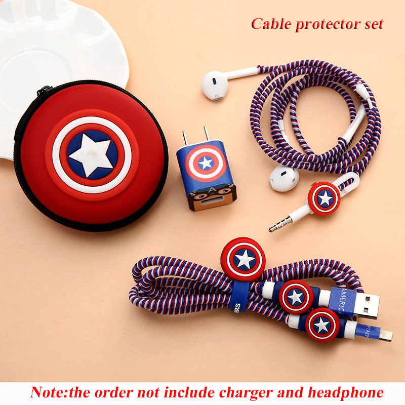For iphone 5 6 6s 7 8 Earphone Case Cartoon USB Cable Earphone Protector Set With Cable Winder Stickers Spiral Cord Protector