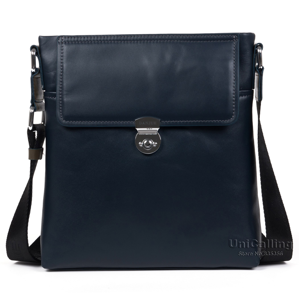 ФОТО High quality fashion alloy lock flap cover men real leather shoulder bags high-end cowhide real skin leisure men messenger bags